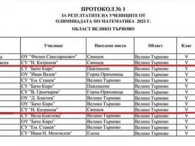 """Отличия за учениците на СУ """"Николай Катранов"""" в Областния кръг на олимпиадата по математика"""