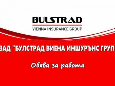 """ЗАД """" Булстрад Виена Иншурънс Груп"""" предлага работна позиция за завършили специалността """"Застраховане и социално дело"""" 11.05.2021 г."""